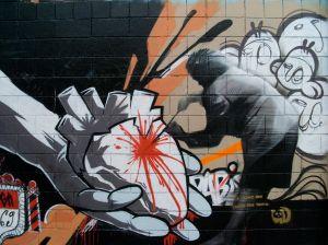 Graffiti en una calle céntrica de Barcelona